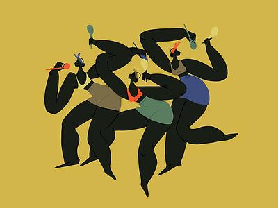 Musica afro salsa latin africa dancers dance music body pattern design digital colors woman illustration