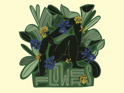 Flowers label design green body pattern leaves character flower bottle vintage badge label flowers plants design digital woman illustration 100 day project 100daychallenge 100dayproject