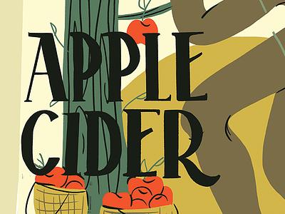 Apple Cider apple design leaves character design digital label packaging label design handmade type handmade font procreate app cider woman 100 day challenge 100 day project label lettering illustration