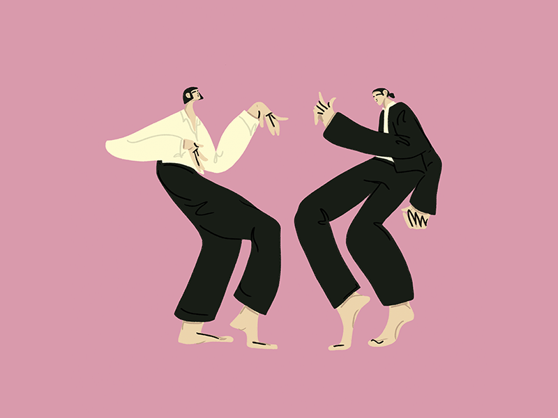 You never can tell song body character woman character design music dancers uma thurman john travolta actor pink design procreate digital illustration film movies pulp fiction