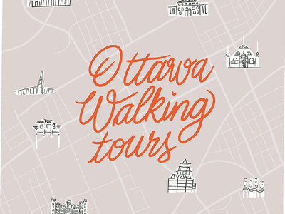 Ottawa walking tours book cover editorial book tours road maps map red lettering museum monument visit tourist tourism tour walking canada ottawa illustration