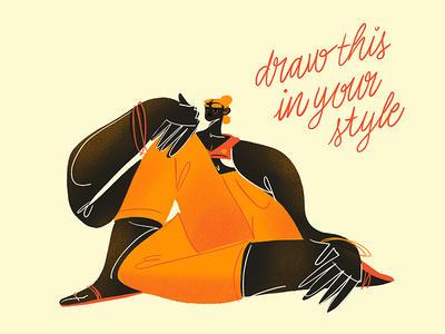 Draw This In Your Style drawthisinyourstyle procreate body pattern orange character argentina digital woman illustration