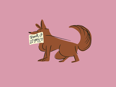 Dogs ♥ card greeting heart pink dogs sign friend line lettering thanks note procreate brown thank you puppies puppy dog digital illustration character