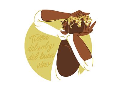 Mendoza dribbbleweeklywarmup hometown home tierra girl orange procreate body woman digital character argentina sol viña vineyard sun wine grapes illustration mendoza