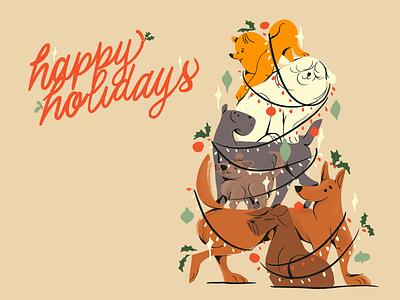 The best present lettering procreate happy new year happy holidays friend xmas card card holidays dog illustration 2020 greetings digital doggy deco xmas christmas tree puppy dog art illustration