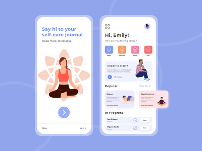 Meditation App anxiety yoga sleep self care meditation app meditation mobile app interaction ui ux illustration design app ui