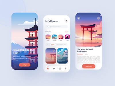 Travel App booking app travelling vacation japan travel travel app app design illustration mobile app ui ux design app ui
