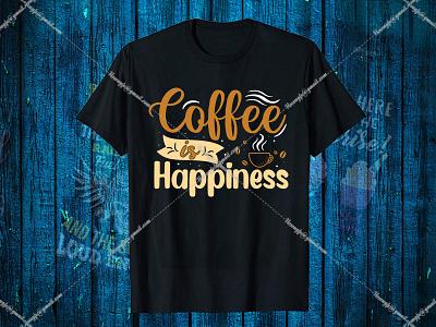 Coffee is Happiness- Hello Dribbble kopi vector illustration motion graphics design graphic design branding black t-shirt design for girls t-shirt design website logo