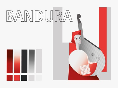 Ukrainian woman with a bandura ethnos modern red colour palette ukraine vectors character woman bandura art minimal flat vector illustration design