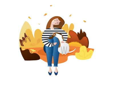 Girl with dog vector illustration relationship characterdesign hugs warm pallete inspiration illustrator girl love 2d freinds forever vector autmn dog illustration flat design character art