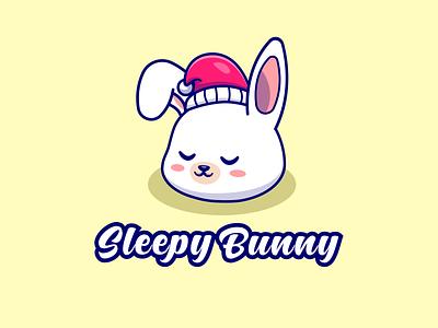Sleepy Bunny logo pet logo graphic design icon vector abstract illustration logo design logos logo mascot design mascot logo cartoon logo cartoon cute rabbit logo rabbit logo cute animals cute logo sleepy bunny logo bunny logo bunny