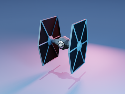 Tie Fighter - Front low poly blender3d star wars 3d