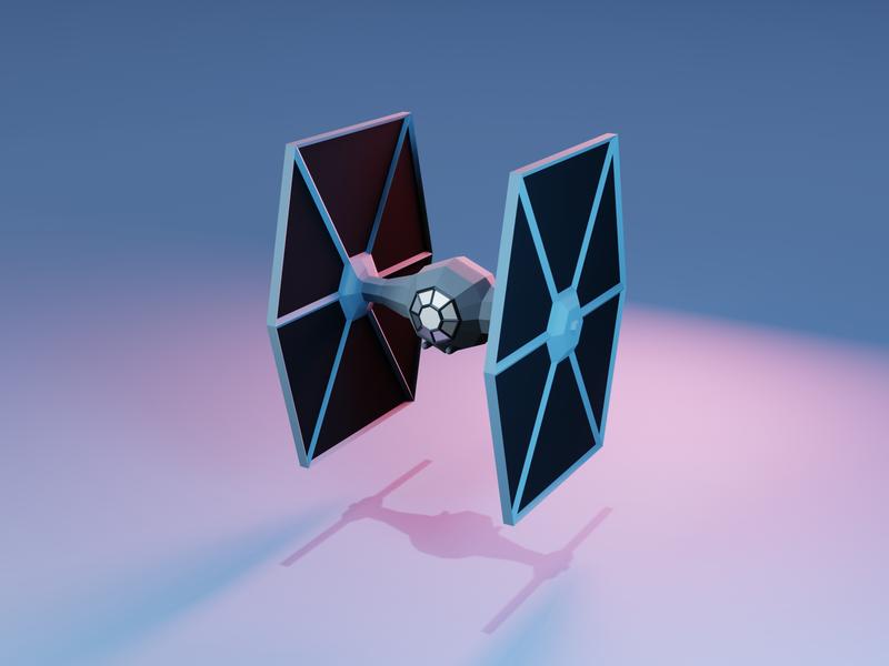 Tie Fighter - Front low poly blender3d star wars 3d