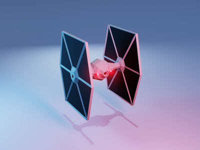 Tie Fighter - Back low poly star wars blender3d 3d