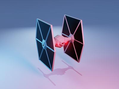 Tie Fighter - Back low poly star wars blender3d 3d
