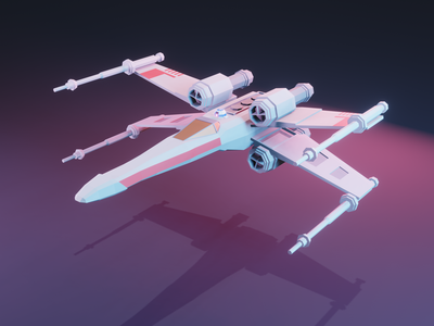 X-Wing - Front low poly blender3d star wars 3d