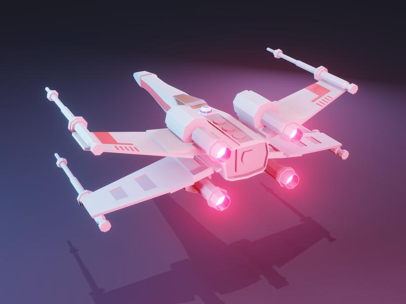 X-Wing - Back low poly blender3d star wars 3d