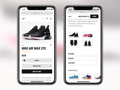 Nike Product Page web mobile ecommerce nike ux ui