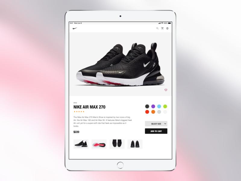 Nike Product Page - iPad ipad ecommerce nike ux ui