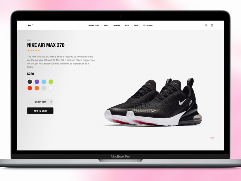Nike Product Page - Desktop web nike ecommerce ux ui
