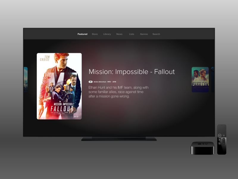 Movies Concept - Dark Theme movies tv appletv app ux ui