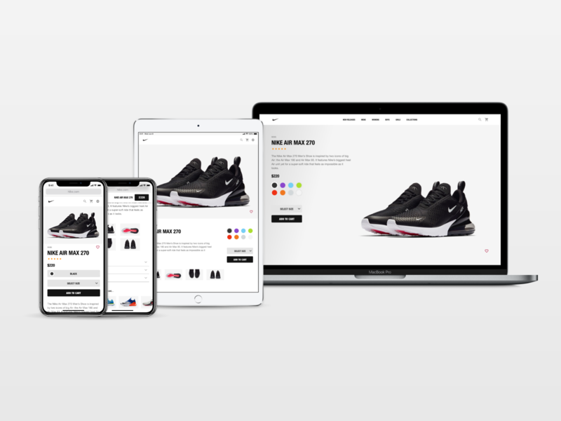 Nike Product Page - Responsive Web web nike ecommerce ux ui