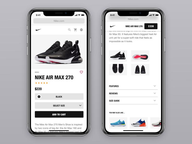Nike Product page (Mobile) Rebound web nike ecommerce ux ui