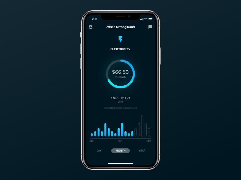 Energy App Concept iphone ios utility electricity energy app ux ui