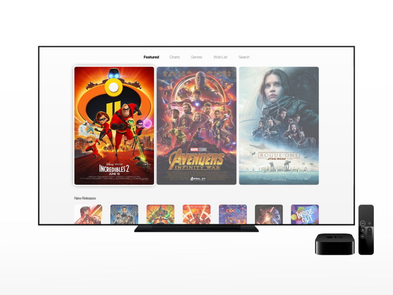 Movie Service Concept tv screen appletv movies ux ui