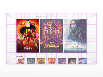 Movie Service Concept - Golden Canon Grid golden canon grid grid layout appletv ux ui