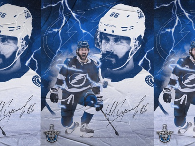 Kucherov Poster photoshop blue athlete stanley cup lightning tampa bay poster sports design sports