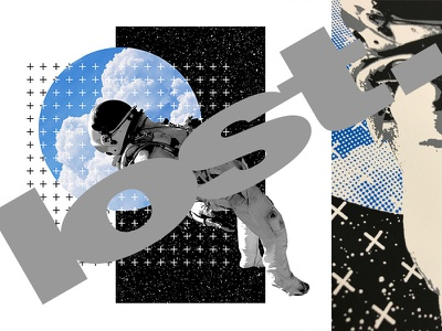 lost. blue composition clouds space astronaut photoshop silkscreen screen print
