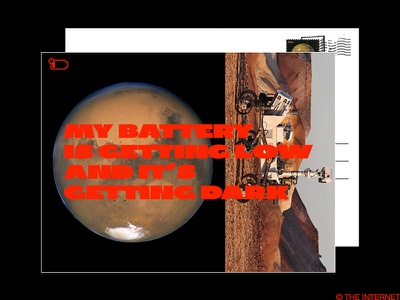 rest in peace robot red brutalism brutalist typography type postcard opportunity rover mars