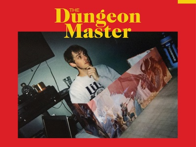 The Dungeon Master 80s retro image type layout yellow red title design master dragons dungeons
