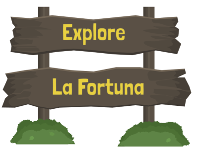 La Fortuna wooden sign illustration branding vector logo