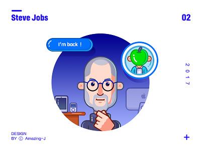 Steve Jobs-简笔风 简笔插画