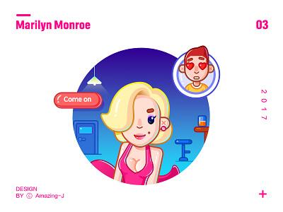 Marilyn Monroe-简笔风 简笔插画