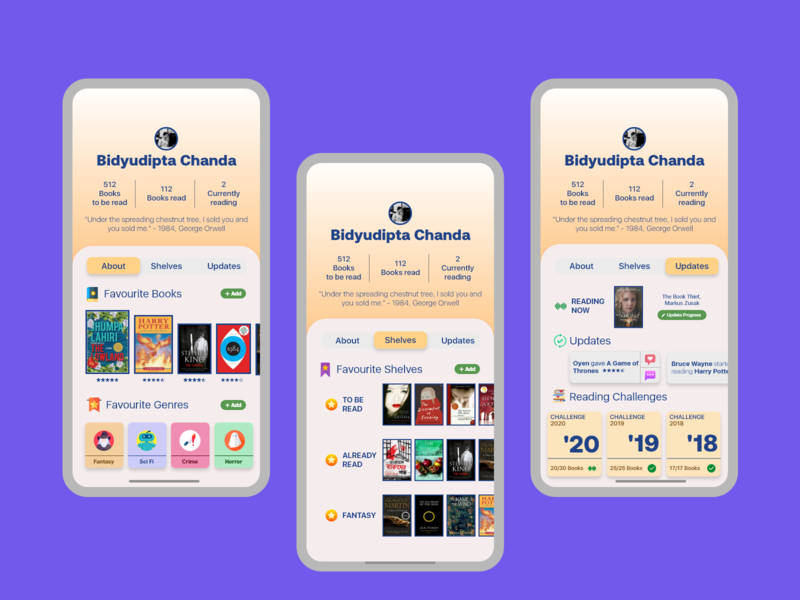 betterReads User Profile - Daily UI #6 books iphonex profile userprofie user ui ux dailyuichallenge dailyui daily ui daily 100 challenge design adobexd