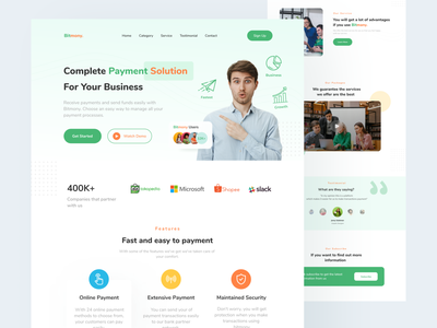 Fullush-Payment Landing Page ui design mobile ui web design clean ui design ui uiux green clean website landing page payment