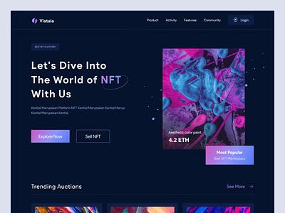 Vistala - NFT Marketplace Landing Page marketplace dark landing page website we clean uiux ux app design ui