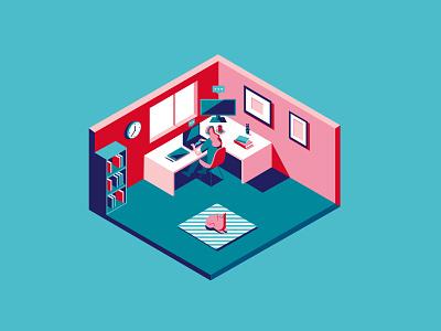 How We Work Now room desk reading books cat magazine cover office workspace working from home isometric illustration isometric vector design covid-19 coronavirus editorial vectorart illustration digital illustration digital