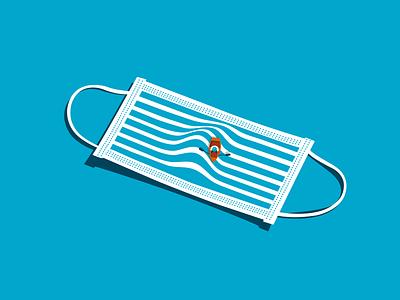The Second Wave adobe illustrator lockdown pandemic mask print covid-19 coronavirus editorial conceptual conceptual illustration conceptual art vectorart digital digital illustration illustration
