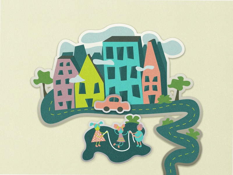 Hope town nature landscape house old school 2020 colors ai place happy flat design illustrator illustration graphic art adobe retro village city
