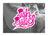 Posh curvy handlettering script curly lettering cats cat typography design