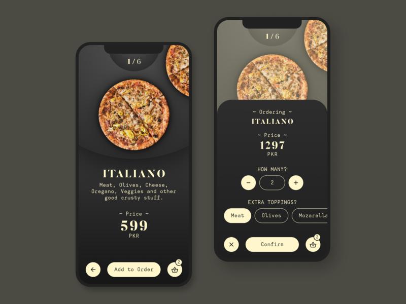 Pizza Ordering App pizza mobile app ui ux branding typography design