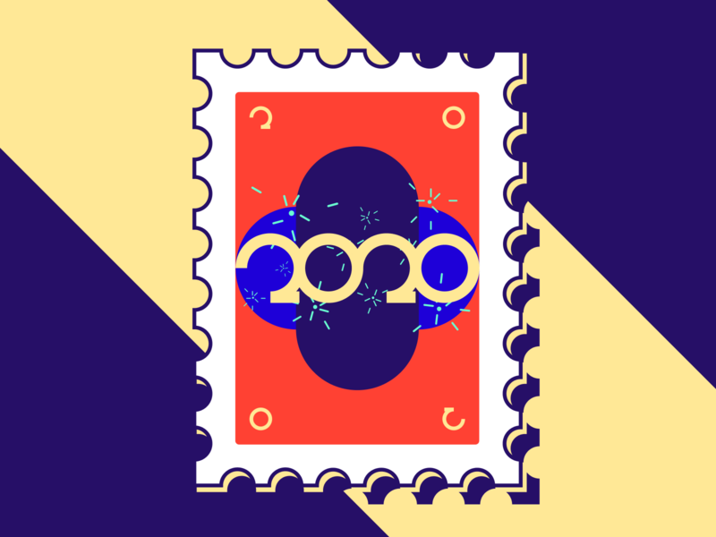 2 0 2 0 2020 new year stamp poster shapes typography design