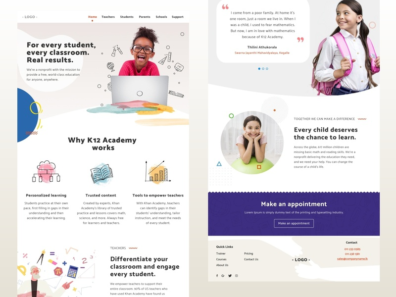 K12 Education - Landing page concept design landingpage education school online learning k12 prototype ui ux