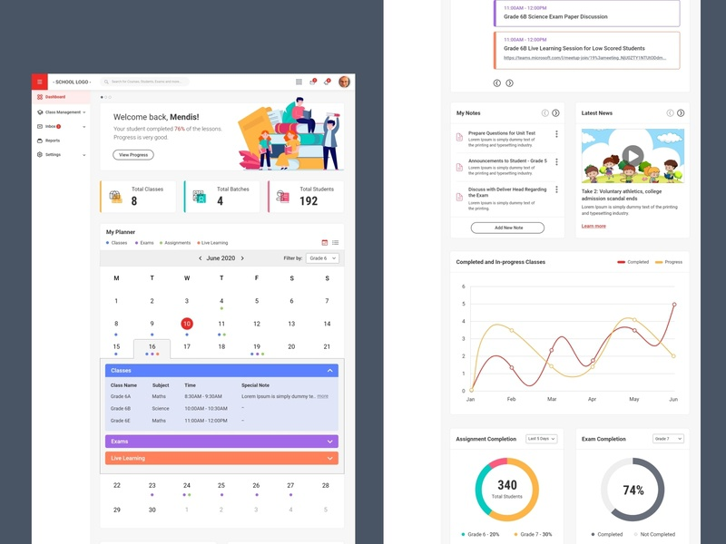 LMS Teacher Dashboard Concept learning management system backend dashboard k12 online education prototype ui ux