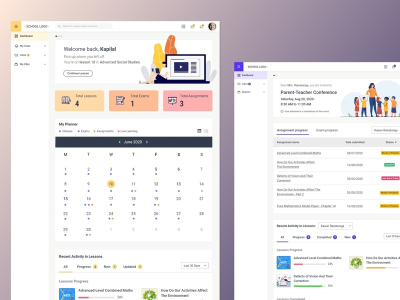 LMS Student and Parent Dashboard Concept dashboad online education parent student learning management system prototype ui ux