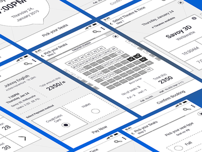 Wireframe - Movie Booking App pay tickets movie booking movie app cinema movie userflow wireframe prototype ui ux